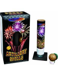 """Фестивальные шары ARTILLERY SHELLS в упаковке 6 зарядов 2,5"""" дюйма (64 мм.) калибр + мортира высота 70 метров"""